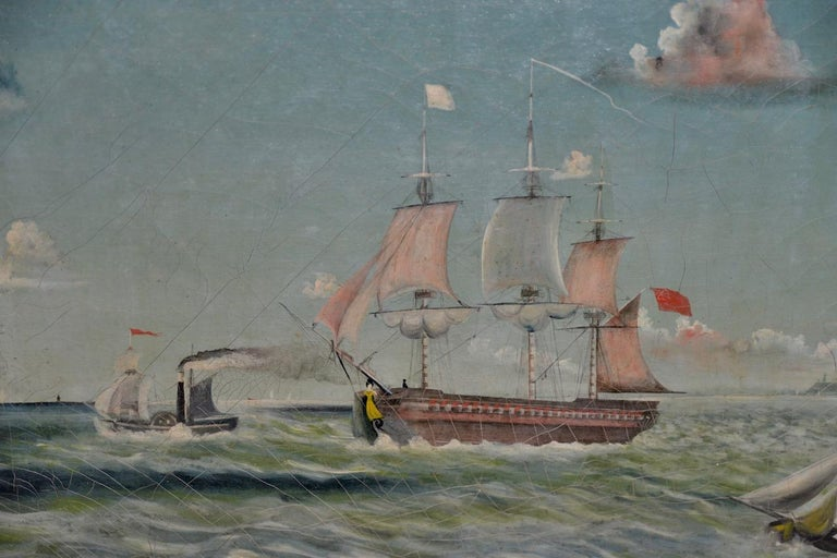 Early 20th Century American Maritime Oil Painting For Sale 4
