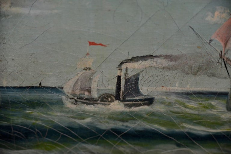 Early 20th Century American Maritime Oil Painting For Sale 5