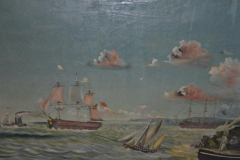 Early 20th Century American Maritime Oil Painting For Sale 6