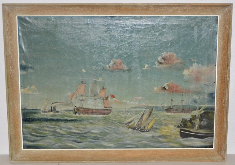 Unknown Landscape Painting - Early 20th Century American Maritime Oil Painting