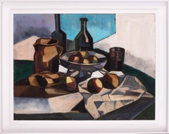 Early 20th Century French Cubist still life oil painting of peaches and bottles