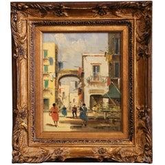 Early 20th Century Italian Street Scene Painting in Gilt Frame Signed Petrilli