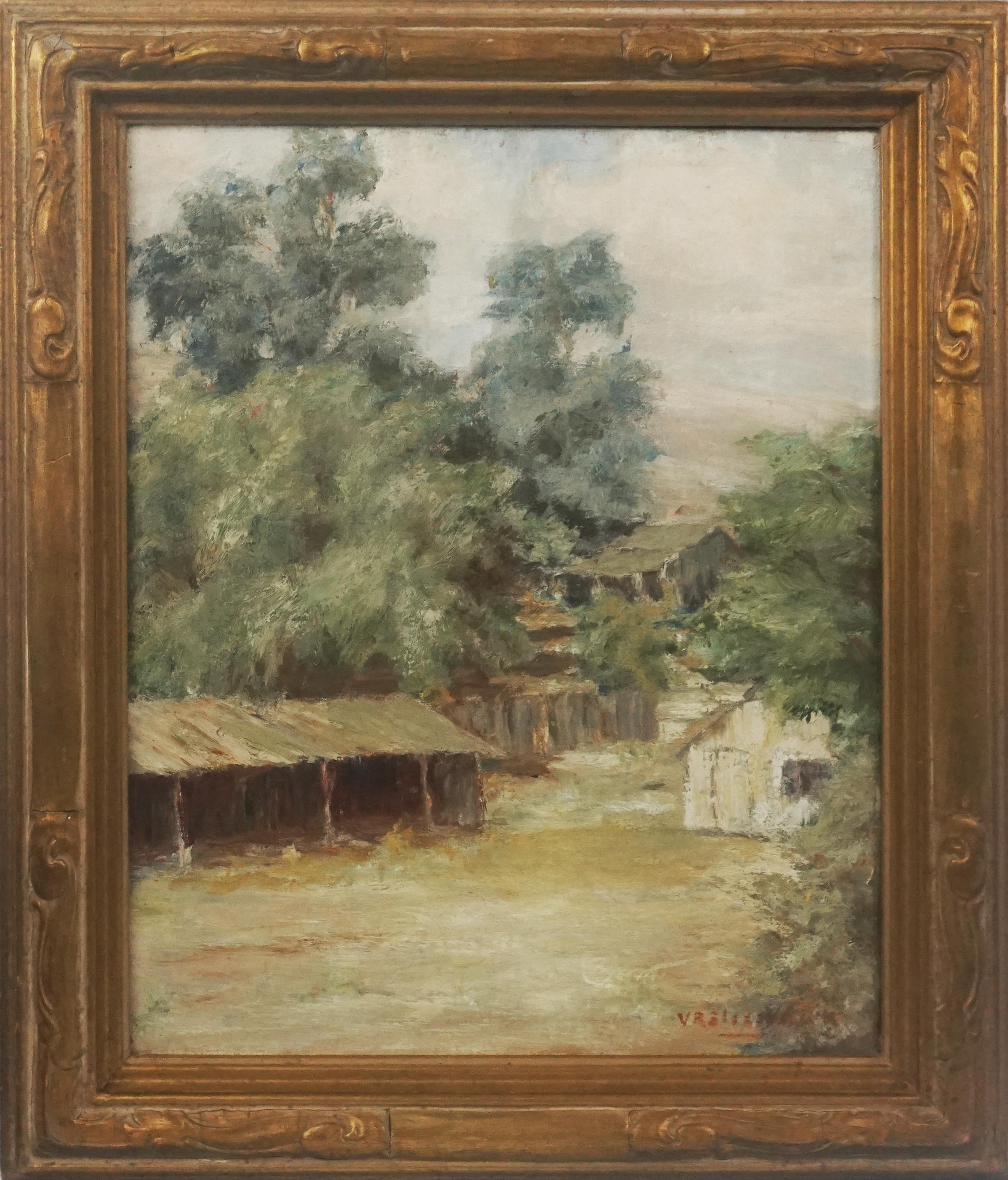"""Early 20th Century Los Altos, California Landscape """"The Old Shed"""""""