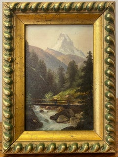 """Early 20th Century """"Mont Cervin"""" Original Oil Painting C.1904"""