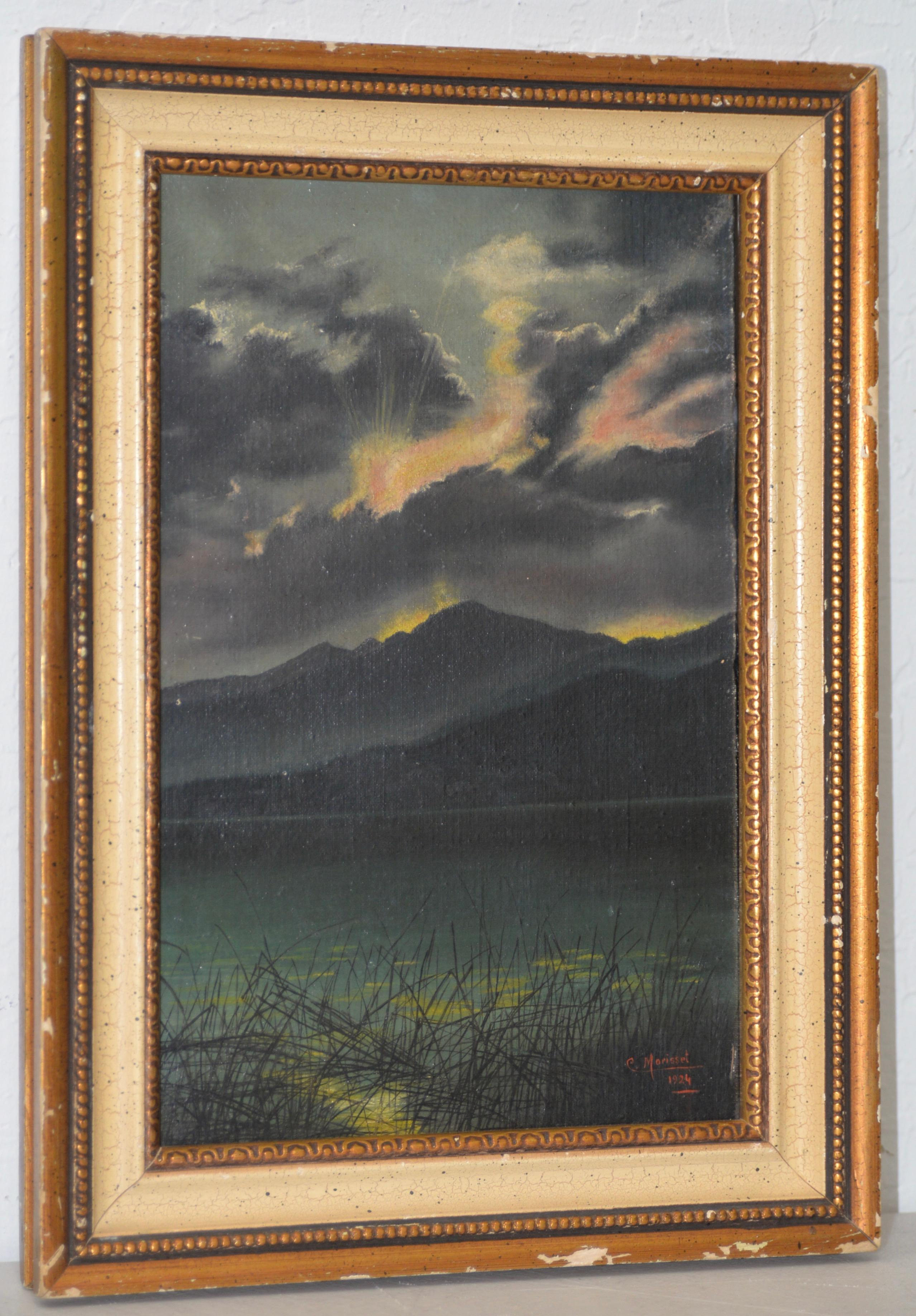 Early 20th Century Mountain Lake Landscape Oil Painting by Morisset c.1924