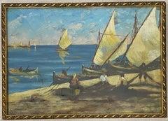 "Early 20th Century ""Net Menders"" Original Oil Painting C.1920"