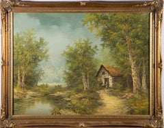 Early 20th Century Oil - Cottage By A Woodland Pond