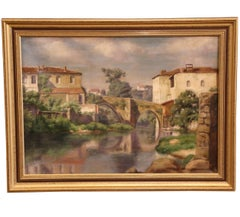 Early 20th Century Oil on Canvas Painting in Gilt Frame of Village in Provence