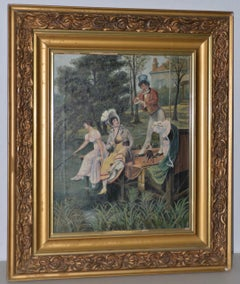 "Early 20th Century Oil Painting ""Fishing"" by E. Smette c.1917"