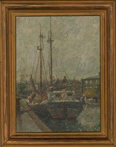 Early 20th Century Oil - Quay in Copenhagen