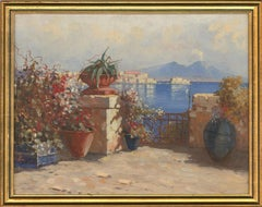 Early 20th Century Oil - View Of Vesuvius from The Bay Of Naples