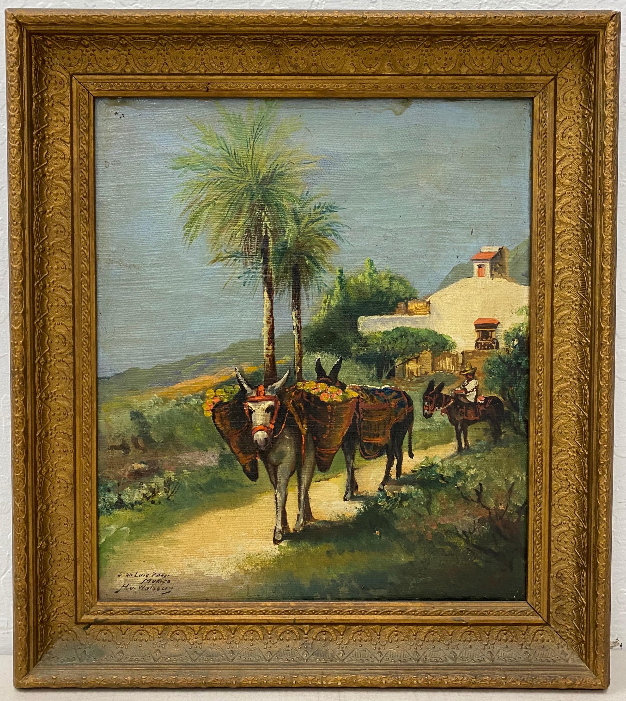"Early 20th Century ""San Luis Potosi, Mexico"" Original Oil Painting C.1900"
