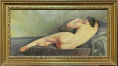 EARLY 20TH CENTURY SIGNED FRENCH OIL - RECLINING NUDE LADY STUDIO INTERIOR