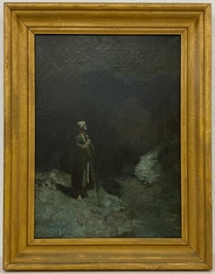 """Early 20th Century """"When I Look Unto They Heavens"""" Original Oil Painting C.1920"""