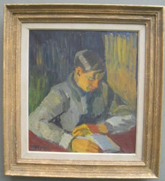 Early 20thC Expressionist/ Modernist Portrait of a Young Man Reading oil c1930