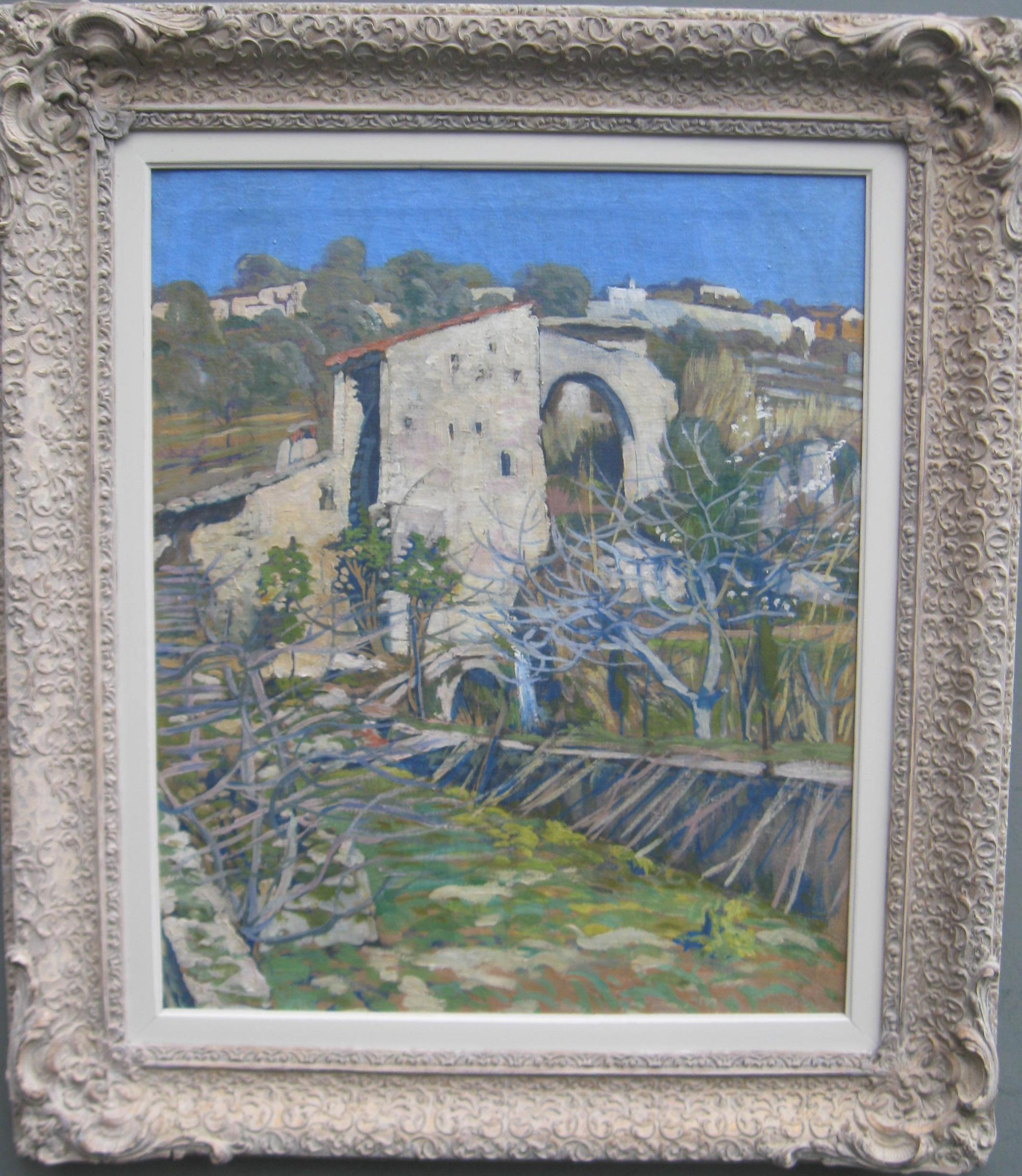 French Impressionist: Provence, Hill Town: Saint Paul de Vence oil Circa 1920's