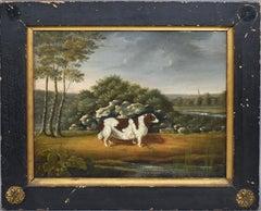 Early American School Folk Art Dog Portrait & Landscape Painting, Hancock 1826