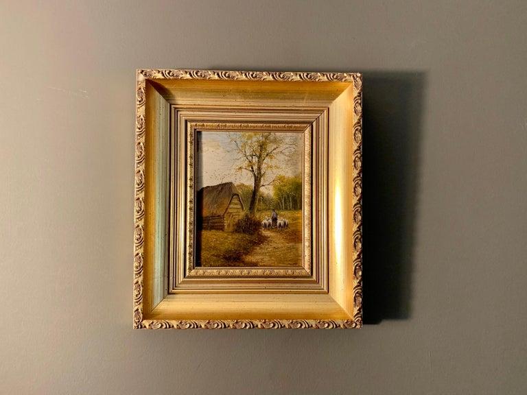 Ecole de Barbizon - Petite French Framed Oil Painting Shepherd and his flock 1