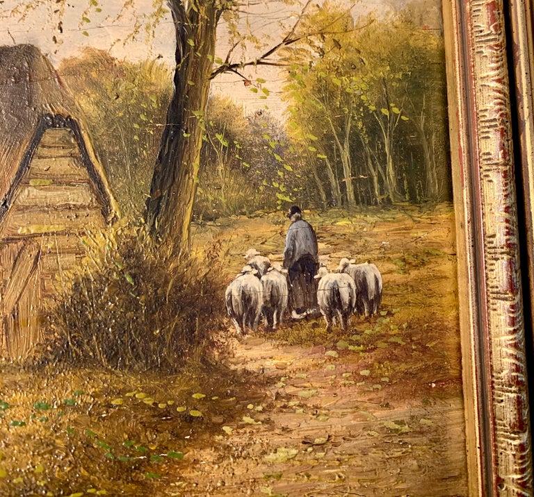 Ecole de Barbizon - Petite French Framed Oil Painting Shepherd and his flock 2