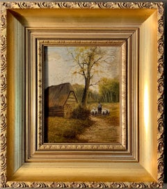 Ecole de Barbizon - Petite French Framed Oil Painting Shepherd and his flock