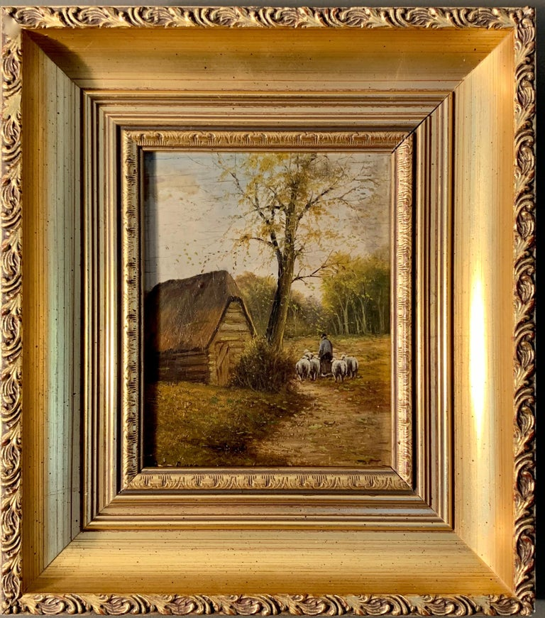 Unknown Landscape Painting - Ecole de Barbizon - Petite French Framed Oil Painting Shepherd and his flock