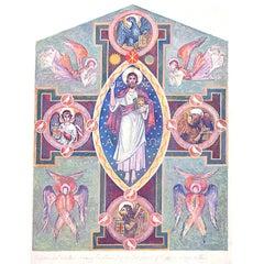 Edwardian Ecclesiastical Gouache Design for Tripytch Above Altar c1920 Art Deco