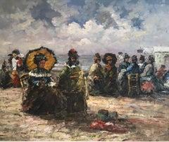 Elegant Seaside Scene, Impressionist Oil Painting