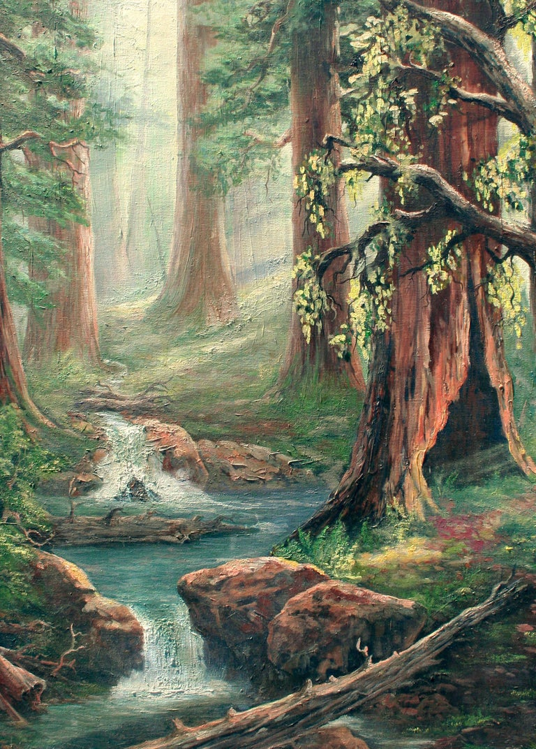Enchanted Redwood Forest Landscape  - Painting by Unknown