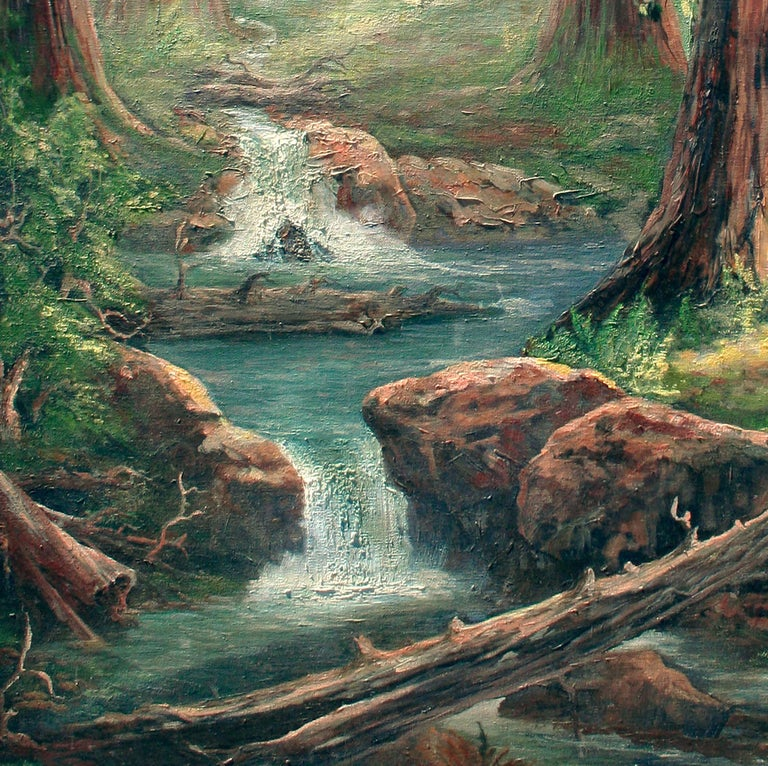Enchanted Redwood Forest Landscape  - Gray Landscape Painting by Unknown