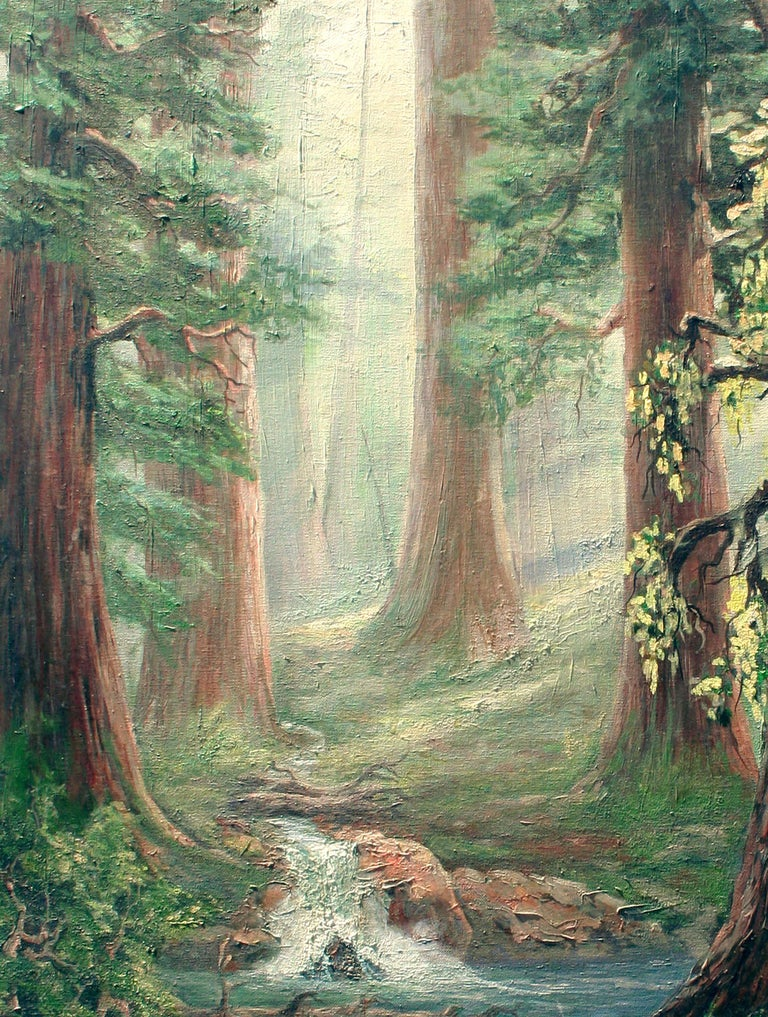 Enchanting landscape of a stream running through a beautifully rendered redwood forest illuminated by rays of light filtering through the trees, by an unknown artist. Unsigned. Unframed. Image size: 40