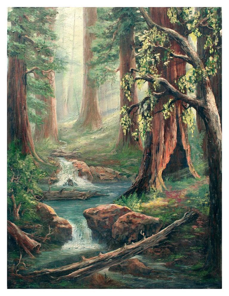 Unknown Landscape Painting - Enchanted Redwood Forest Landscape