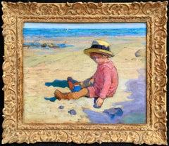 Enfant sur la Plage - French Impressionist School, Child in Coastal Landscape