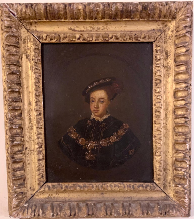 English 19th century Oil portrait of the English King Edward VI in carved frame - Painting by Unknown