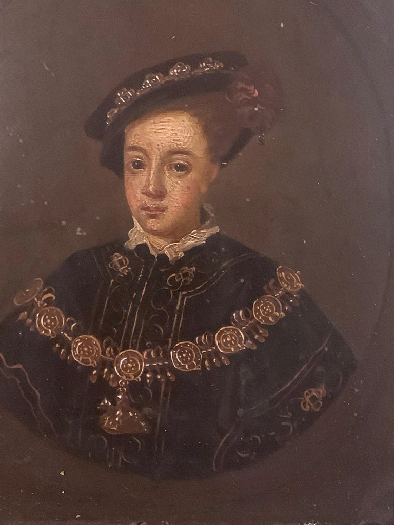 English 19th century Oil portrait of the English King Edward VI in carved frame - Old Masters Painting by Unknown