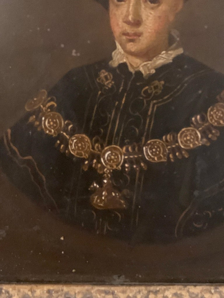English 19th century Oil portrait of the English King Edward VI in carved frame - Brown Portrait Painting by Unknown