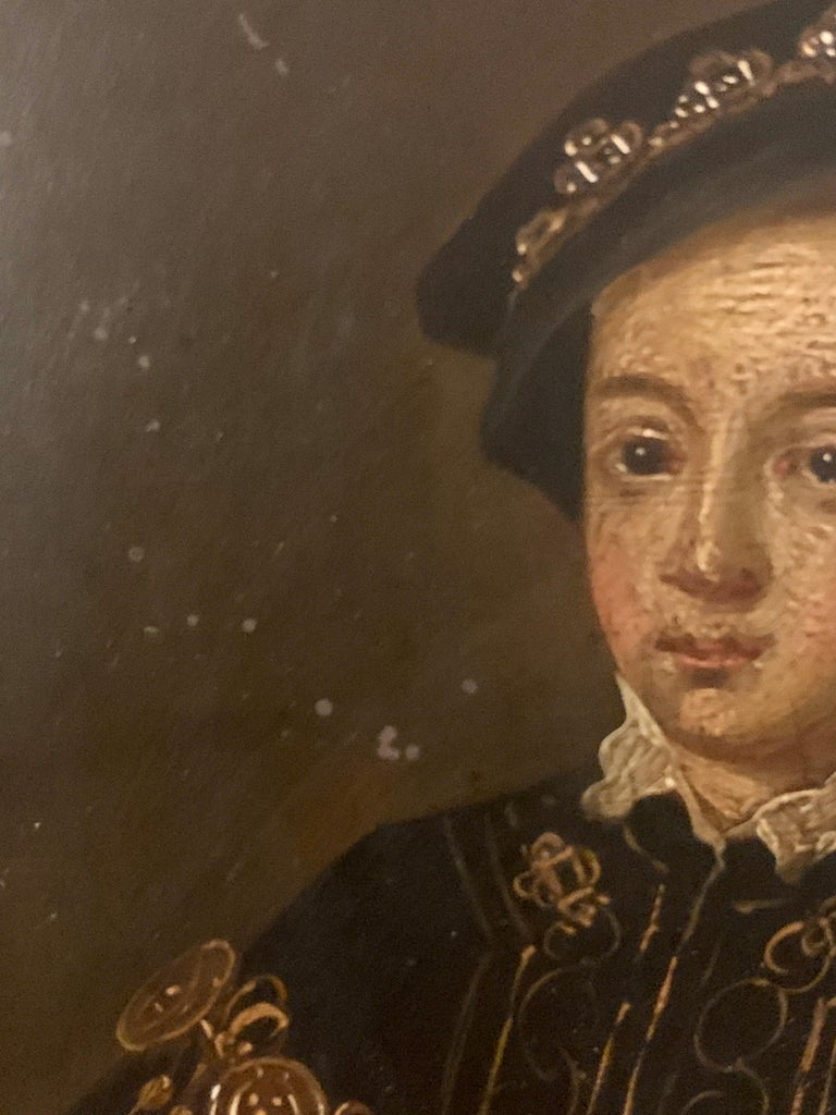 English 19th century Oil portrait of the English King Edward VI in carved frame For Sale 1