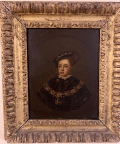 English 19th century Oil portrait of the English King Edward VI in carved frame