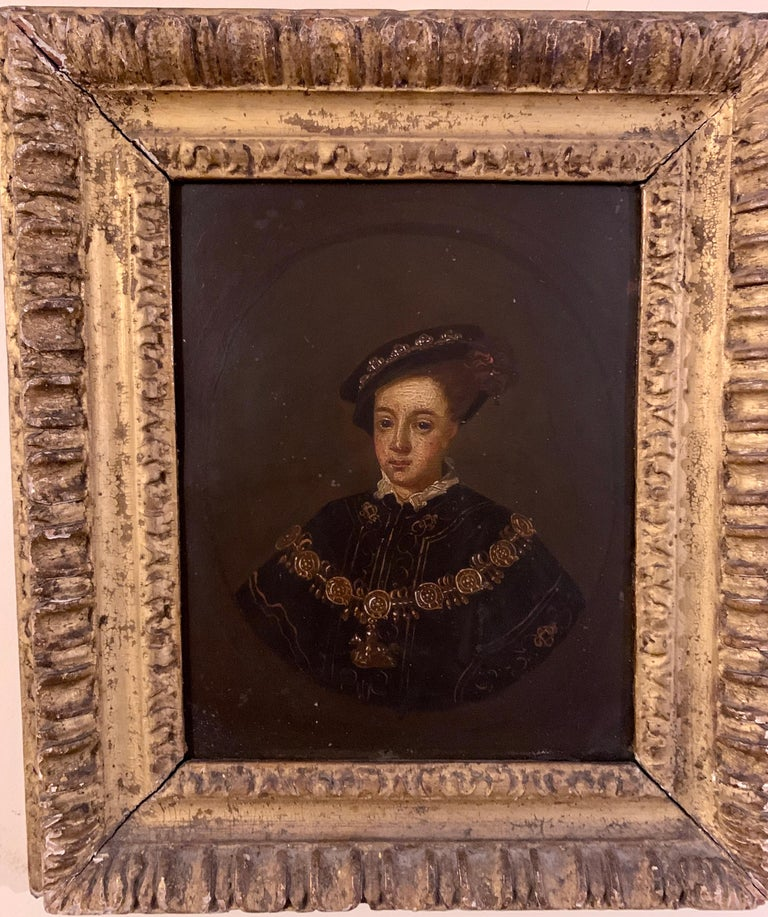 Unknown Portrait Painting - English 19th century Oil portrait of the English King Edward VI in carved frame