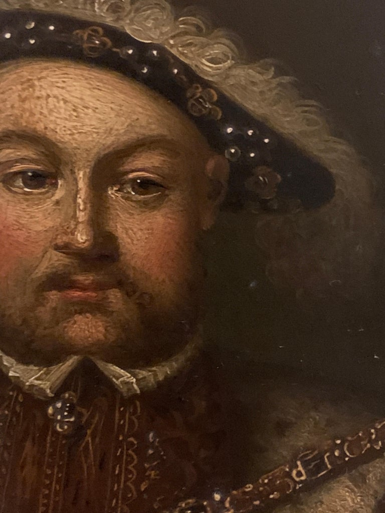 English 19th century Oil portrait of the English King Henry Vlll in carved frame - Brown Figurative Painting by Unknown