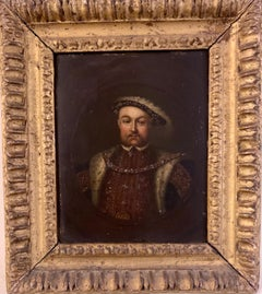 English 19th century Oil portrait of the English King Henry Vlll in carved frame