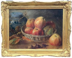 English Antique Victorian still life of apples, walnuts and a blue and white jar