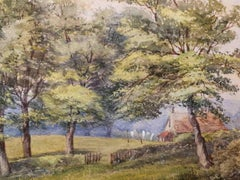 English Artist, Landscape, ante 1896, tempera on cardboard, signed and dated