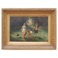 English Country Scene with Milkmaid with Cows and Dog with an Upper Class Male
