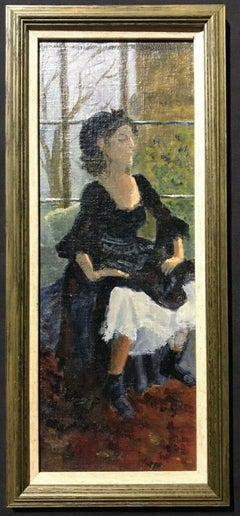 ENGLISH IMPRESSIONIST OIL - LADY IN OLD FASHIONED DRESS SEATED IN WINDOW SILL