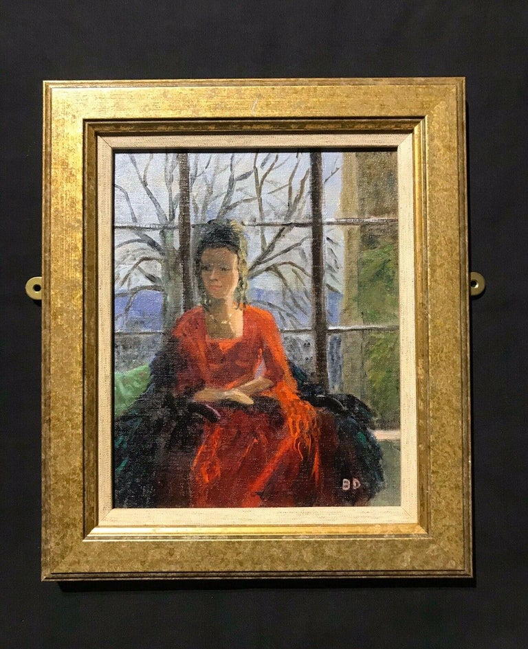 ENGLISH IMPRESSIONIST SIGNED OIL - LADY SEATED IN WINDOW SEAT LANDSCAPE BEYOND - Painting by Unknown