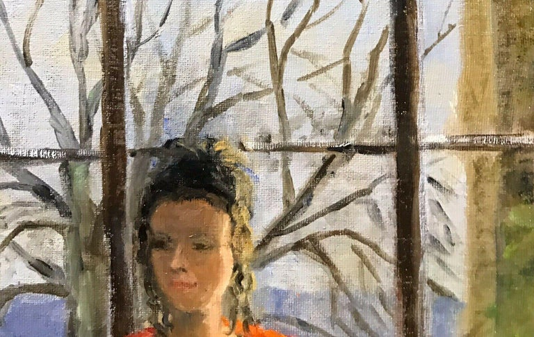 ENGLISH IMPRESSIONIST SIGNED OIL - LADY SEATED IN WINDOW SEAT LANDSCAPE BEYOND - Abstract Painting by Unknown
