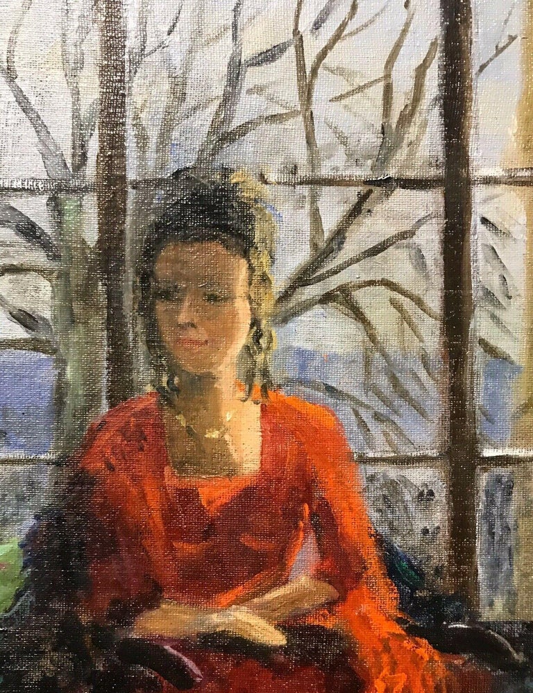 ENGLISH IMPRESSIONIST SIGNED OIL - LADY SEATED IN WINDOW SEAT LANDSCAPE BEYOND - Black Figurative Painting by Unknown