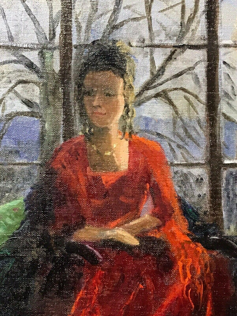 ENGLISH IMPRESSIONIST SIGNED OIL - LADY SEATED IN WINDOW SEAT LANDSCAPE BEYOND For Sale 1