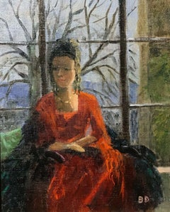ENGLISH IMPRESSIONIST SIGNED OIL - LADY SEATED IN WINDOW SEAT LANDSCAPE BEYOND