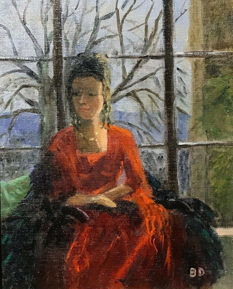 Unknown Figurative Painting - ENGLISH IMPRESSIONIST SIGNED OIL - LADY SEATED IN WINDOW SEAT LANDSCAPE BEYOND